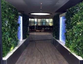 Mur bulles et végétaux artificiels